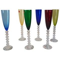 """Baccarat Crystal """"Vega Flutissimo"""" Set of Six Champagne Flutes, Modern"""