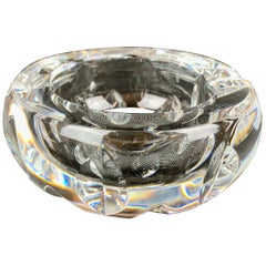 Baccarat Cut and Faceted Clear Round Crystal Ashtray