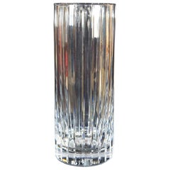 Baccarat Cut Crystal Harmonie Fluted Glass Round Cylinder Flower Vase, France