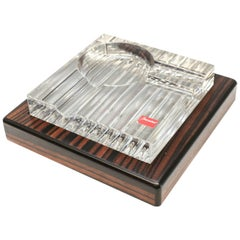 Baccarat Cut Glass and Striped Ebony Wood Ashtray in Havana