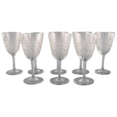 Baccarat, France. Eight Art Deco Cavour Red Wine Glasses, 1920s-1930s
