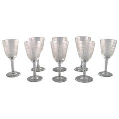 Baccarat, France, Eight Art Deco Cavour White Wine Glasses in Crystal Glass
