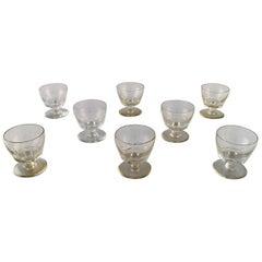 Baccarat, France, Eight Facet Cut Art Deco Glasses, Art Glass, 1930s-1940s