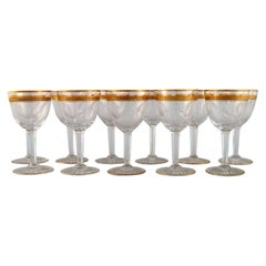 Baccarat, France, Eleven Art Deco White Wine Glasses in Crystal Glass, 1930's