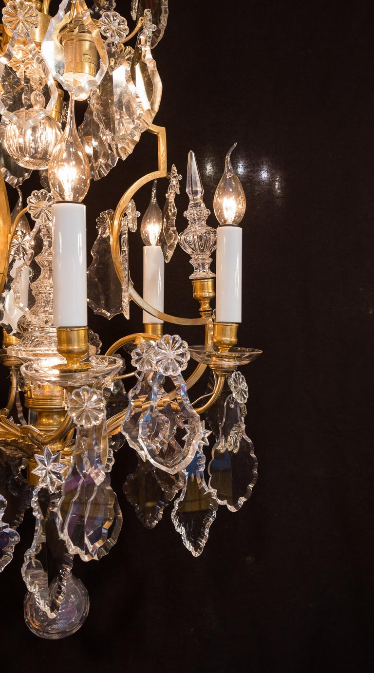 Baccarat, French Louis XV Style Gilt-Bronze and Crystal Chandelier, circa 1880 For Sale 6