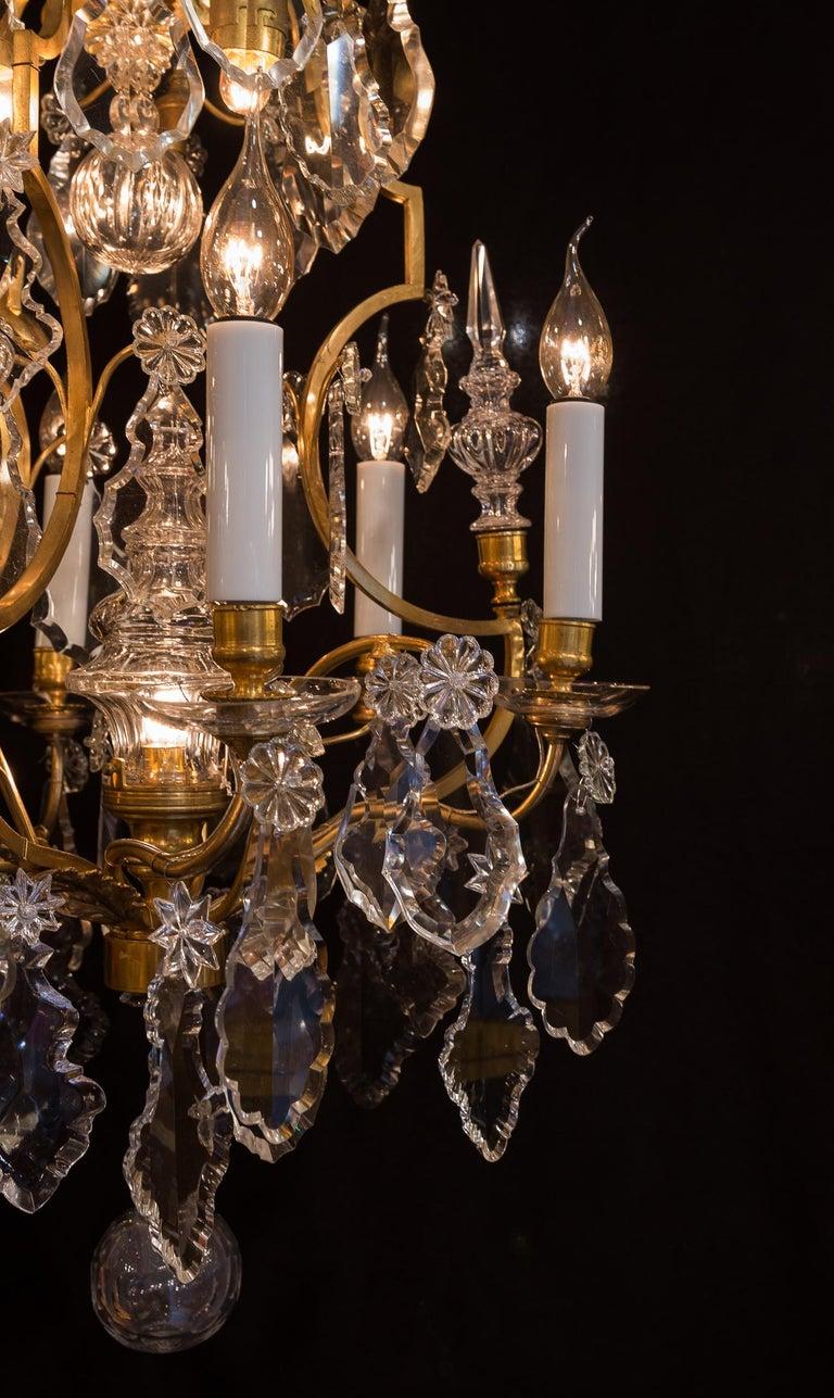 Baccarat, French Louis XV Style Gilt-Bronze and Crystal Chandelier, circa 1880 For Sale 7