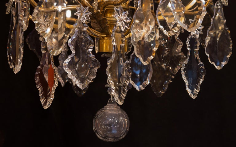 Baccarat, French Louis XV Style Gilt-Bronze and Crystal Chandelier, circa 1880 For Sale 8