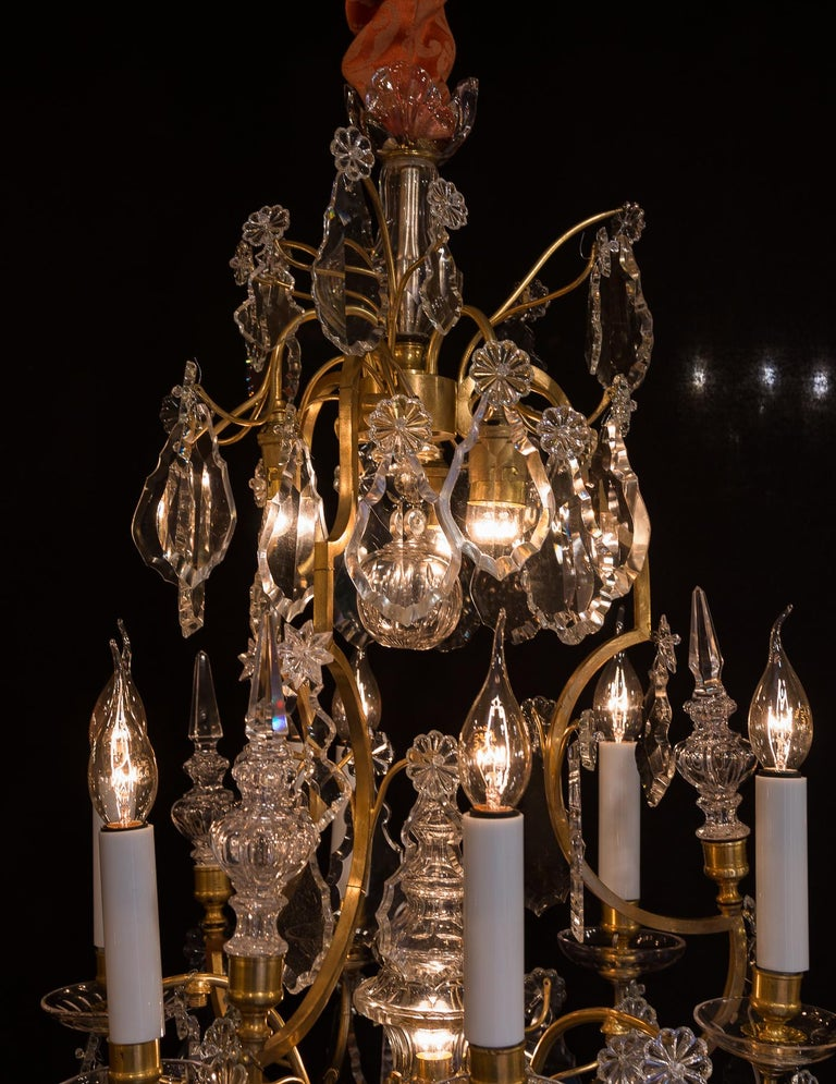 Baccarat, French Louis XV Style Gilt-Bronze and Crystal Chandelier, circa 1880 In Good Condition For Sale In Saint Ouen, FR