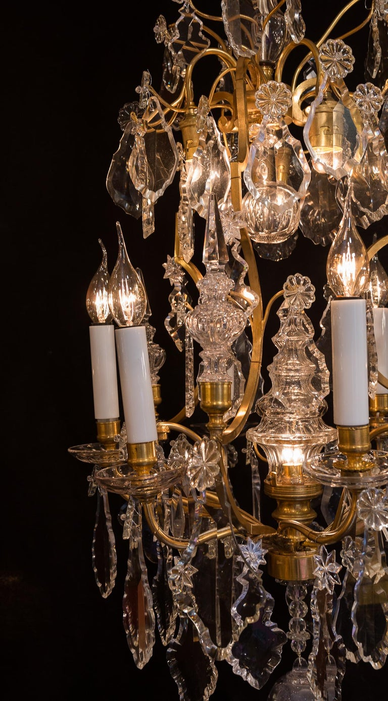 19th Century Baccarat, French Louis XV Style Gilt-Bronze and Crystal Chandelier, circa 1880 For Sale