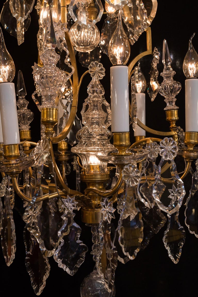 Baccarat, French Louis XV Style Gilt-Bronze and Crystal Chandelier, circa 1880 For Sale 1