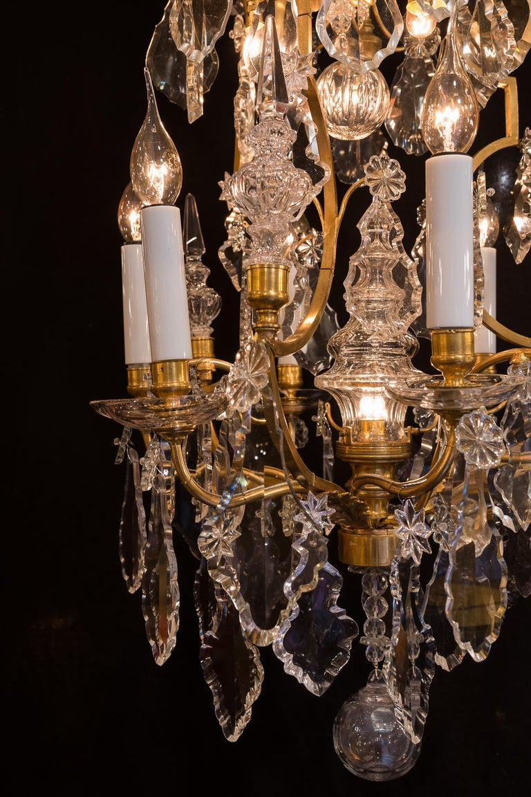 Baccarat, French Louis XV Style Gilt-Bronze and Crystal Chandelier, circa 1880 For Sale 2