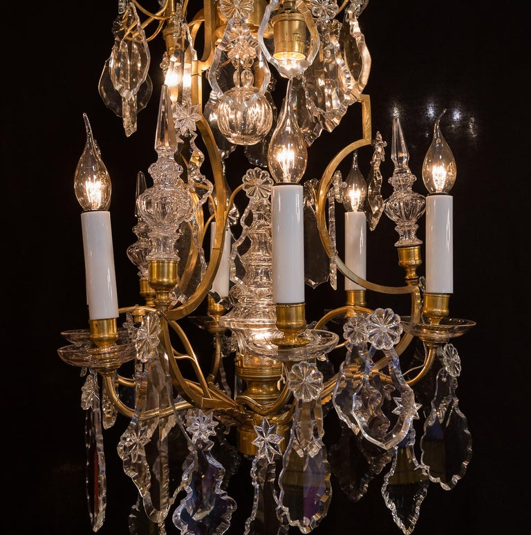 Baccarat, French Louis XV Style Gilt-Bronze and Crystal Chandelier, circa 1880 For Sale 4