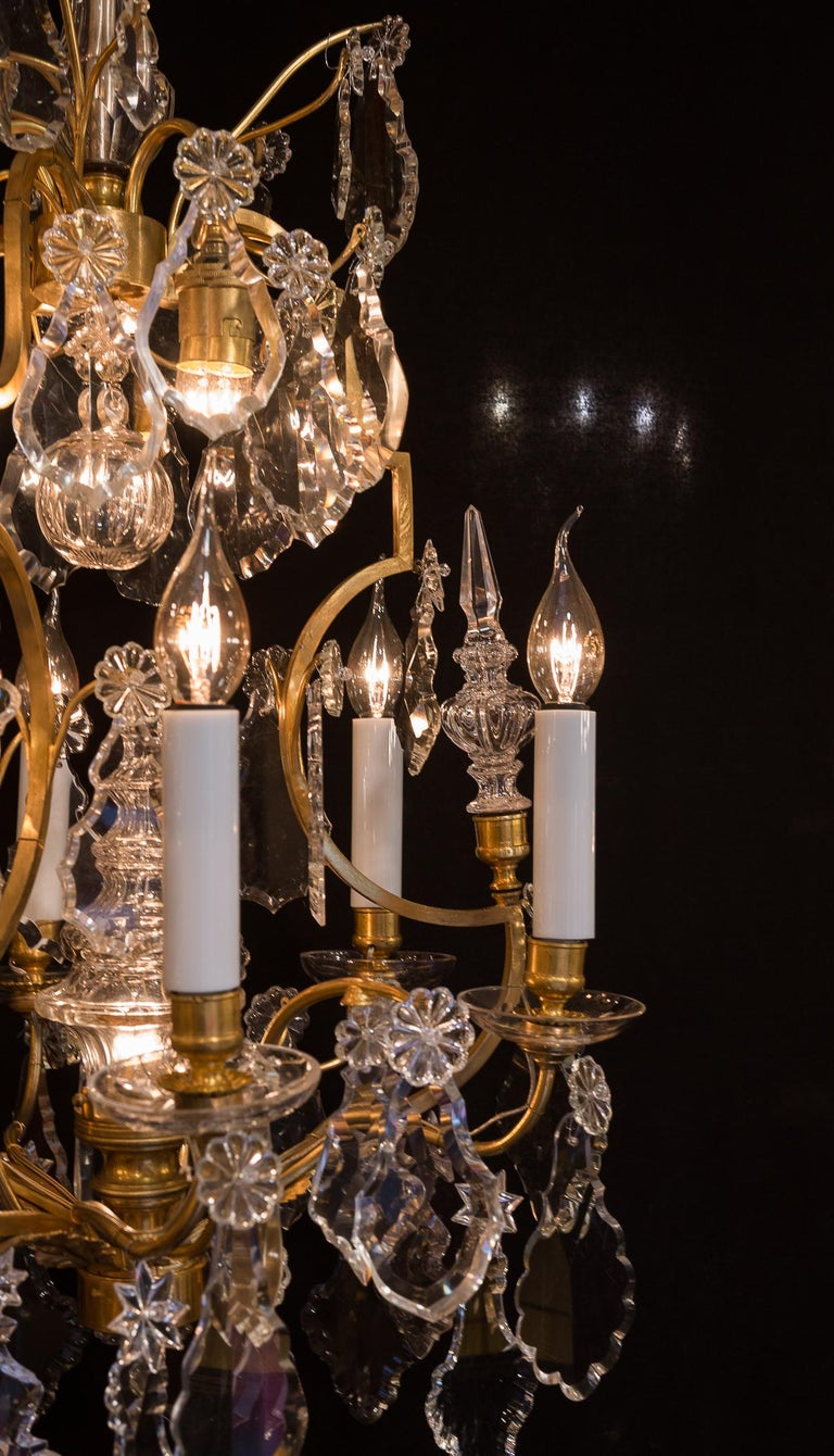 Baccarat, French Louis XV Style Gilt-Bronze and Crystal Chandelier, circa 1880 For Sale 5