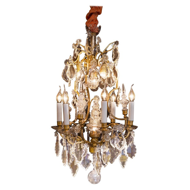 Baccarat, French Louis XV Style Gilt-Bronze and Crystal Chandelier, circa 1880 For Sale