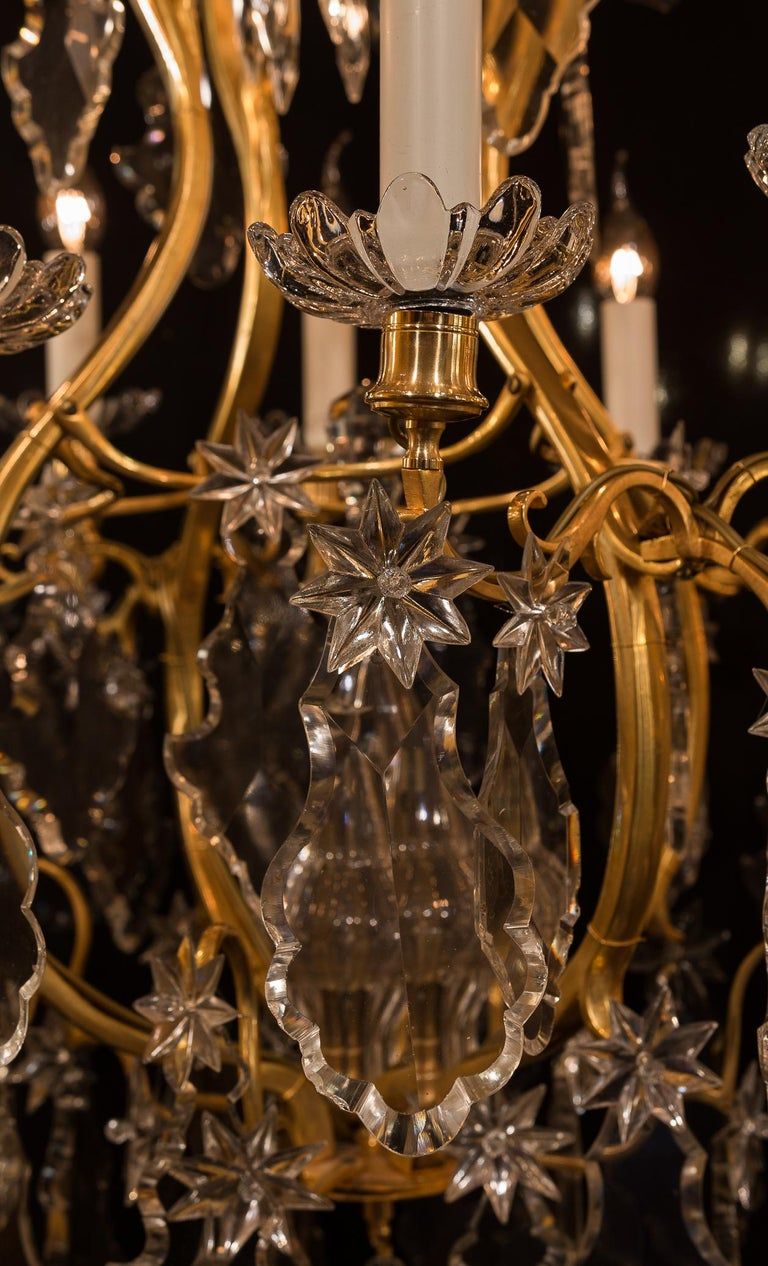 Baccarat, French Louis XV Style, Gilt-Bronze and Crystal Chandelier For Sale 6