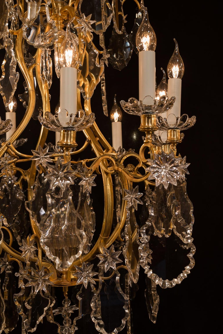 Baccarat, French Louis XV Style, Gilt-Bronze and Crystal Chandelier For Sale 7