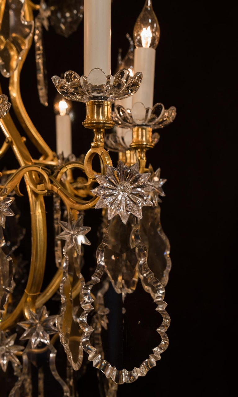 Baccarat, French Louis XV Style, Gilt-Bronze and Crystal Chandelier For Sale 8