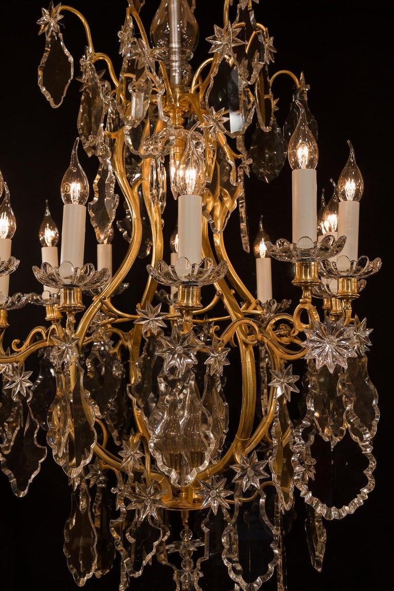 Baccarat, French Louis XV Style, Gilt-Bronze and Crystal Chandelier For Sale 9