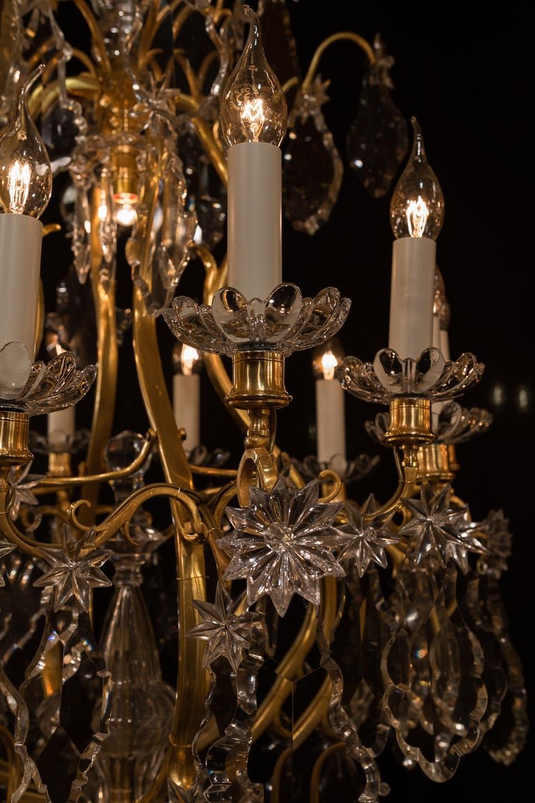 Baccarat, French Louis XV Style, Gilt-Bronze and Crystal Chandelier For Sale 10