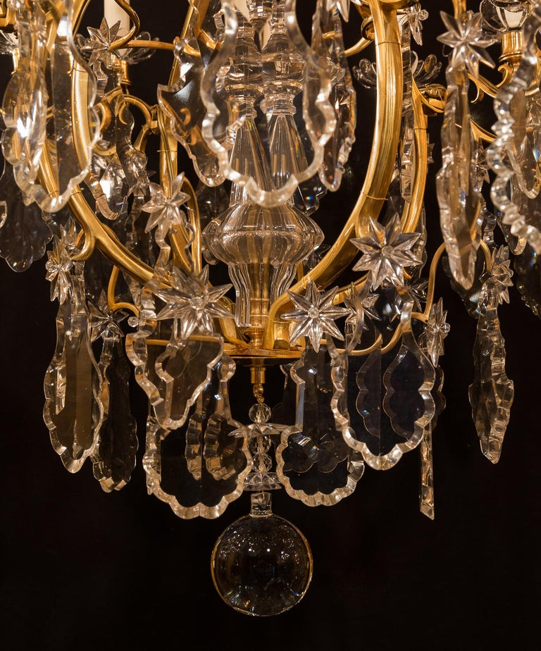Baccarat, French Louis XV Style, Gilt-Bronze and Crystal Chandelier For Sale 11