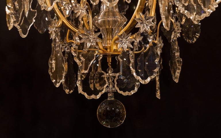 Baccarat, French Louis XV Style, Gilt-Bronze and Crystal Chandelier For Sale 12