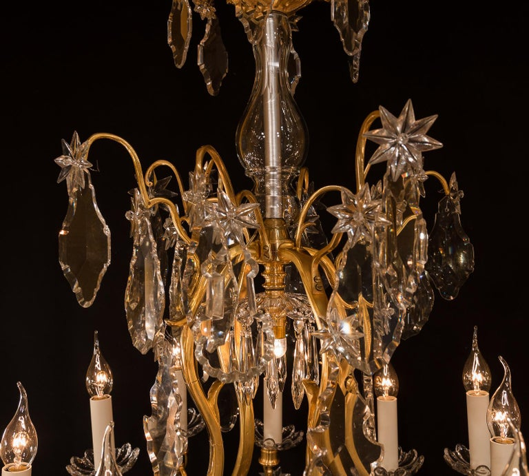 19th Century Baccarat, French Louis XV Style, Gilt-Bronze and Crystal Chandelier For Sale