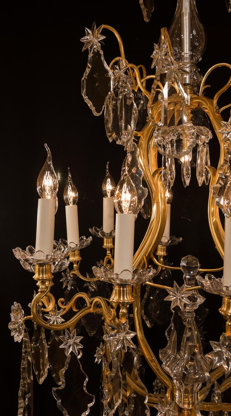 Baccarat, French Louis XV Style, Gilt-Bronze and Crystal Chandelier For Sale 1