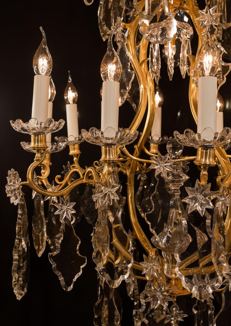 Baccarat, French Louis XV Style, Gilt-Bronze and Crystal Chandelier For Sale 2