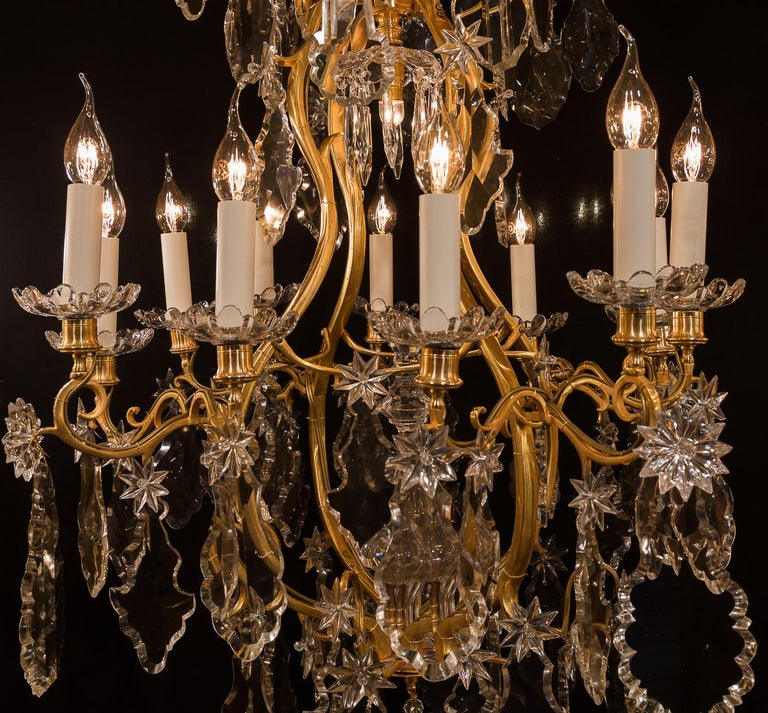 Baccarat, French Louis XV Style, Gilt-Bronze and Crystal Chandelier For Sale 3
