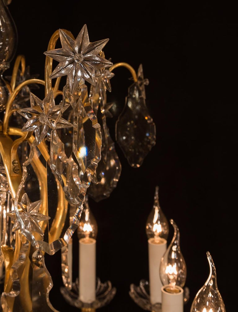 Baccarat, French Louis XV Style, Gilt-Bronze and Crystal Chandelier For Sale 4