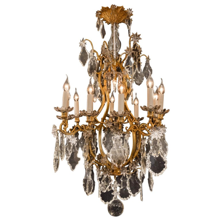 Baccarat, French Louis XV Style, Gilt-Bronze and Crystal Chandelier For Sale