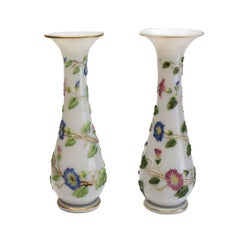Baccarat French Opaline Enamel Hand Painted Glass Vases