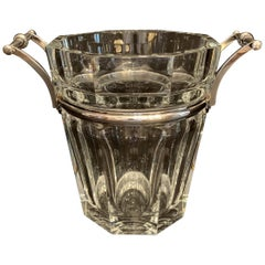 Baccarat Harcourt Champagne Cooler Ice Bucket Silvered Bronze Ormolu Handle