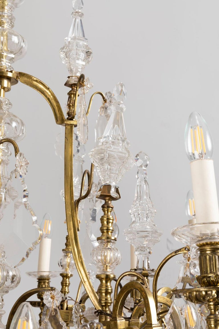Mid-20th Century Baccarat, Large Louis XV Style Chandelier in Gilt Brass and Crystal, circa 1950 For Sale