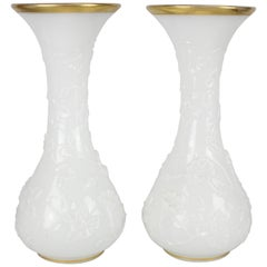 Baccarat Large Pair of Vases. Opaline Glass 'Vase De Fantasie'
