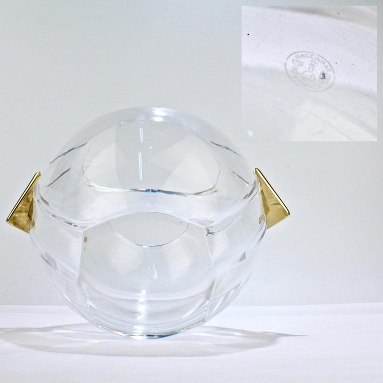 Baccarat Modernist Crystal and Gilt Bronze Handled Ice Bucket For Sale 5