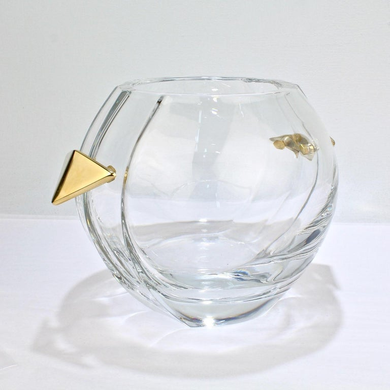 Mid-Century Modern Baccarat Modernist Crystal and Gilt Bronze Handled Ice Bucket For Sale