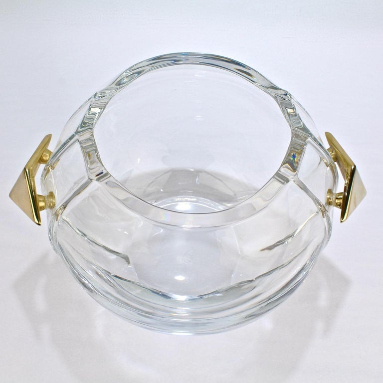 20th Century Baccarat Modernist Crystal and Gilt Bronze Handled Ice Bucket For Sale