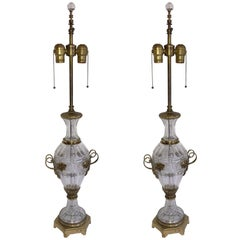 Baccarat Pair Cut Crystal Gilt Bronze Ormolu-Mounted French Filigree Urn Lamps
