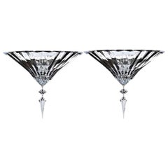 Baccarat Pair of Clear Crystal Wall Lights Sconces Mille Nuits Modern Design