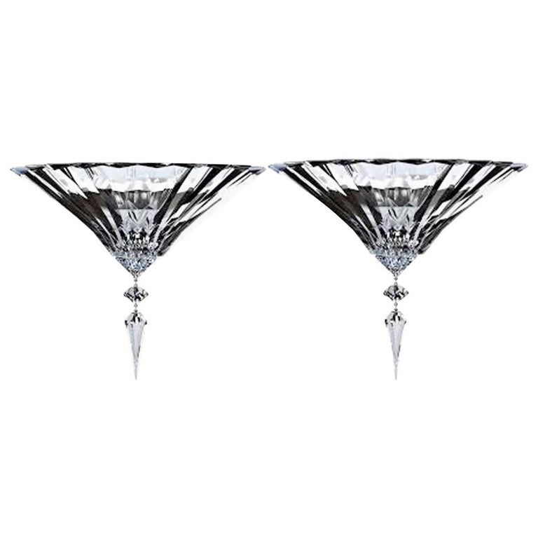Baccarat Pair of Clear Crystal Wall Lights Sconces Mille Nuits Modern Design For Sale