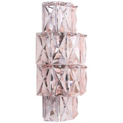 Baccarat Pink Crystal Wall Sconce, Mid-Century Modern Period