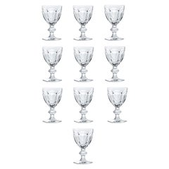 Baccarat Set 10 Clear Water Crystal Glasses