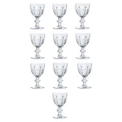 Baccarat Set 10 Clear Wine Crystal Glasses