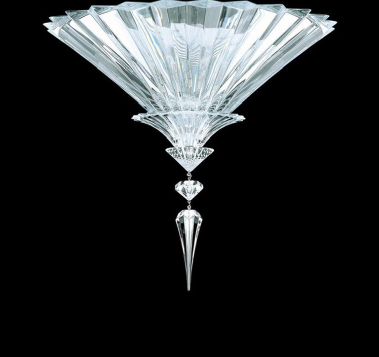 Baccarat set of 2 Mille Nuits ceiling units clear crystal medium size  This is the most beautiful ceiling unit of Baccarat production. EU wiring.