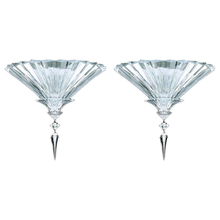 Baccarat Set of 2 Mille Nuits Ceiling Units Clear Crystal Medium Size For Sale