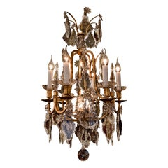 Baccarat Signed, French Louis XV Style, Patinated-Bronze and Crystal Chandelier