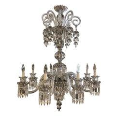 Baccarat Style Bohemian Eight-Light Platinum Chandelier, 21st Century