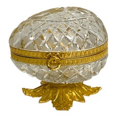 Baccarat Style Cut Glass and Ormolu Egg Motif Box