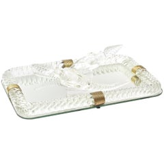 Baccarat Style Glass Mirror Vanity Tray with 2 Perfume Bottles